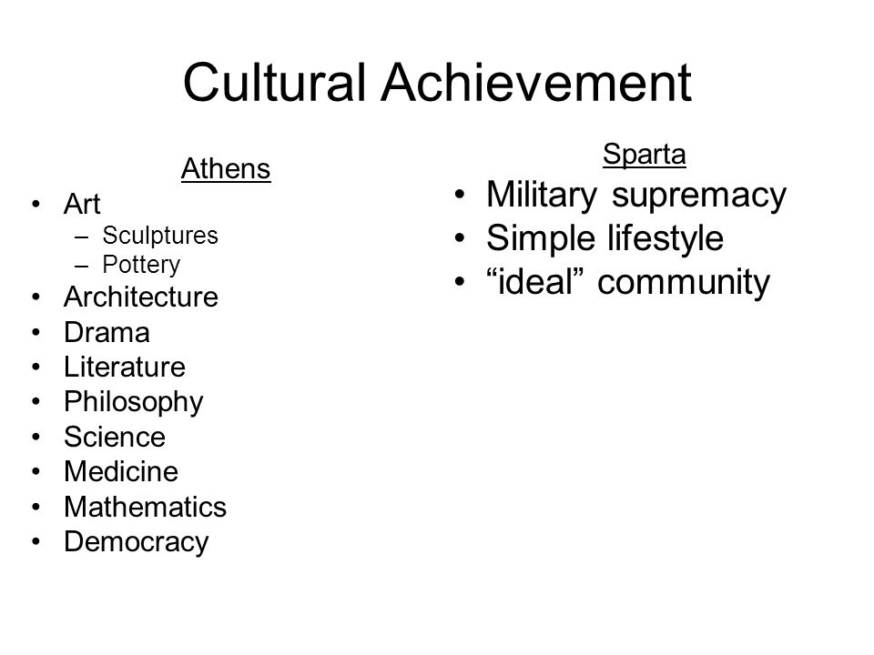 Cultural Achievement Military supremacy Simple lifestyle
