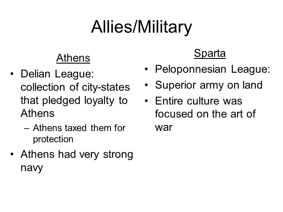 Allies/Military Sparta Athens Peloponnesian League: