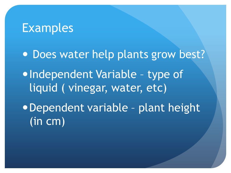 Examples Does water help plants grow best