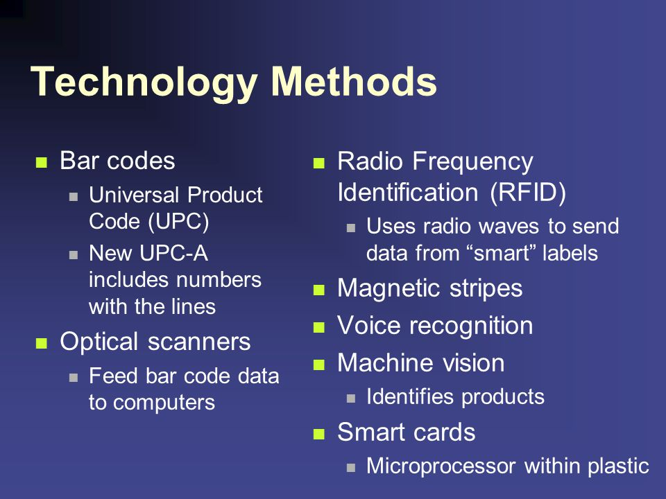 Technology Methods Bar codes Radio Frequency Identification (RFID)