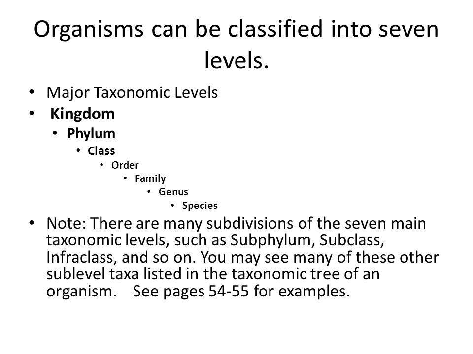Organisms can be classified into seven levels.