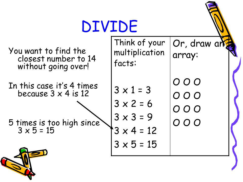 DIVIDE Or, draw an array: O O O 3 x 1 = 3 3 x 2 = 6 3 x 3 = 9