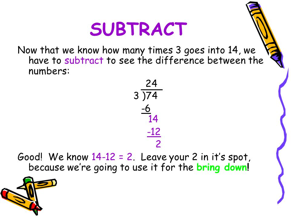 SUBTRACT Now that we know how many times 3 goes into 14, we have to subtract to see the difference between the numbers: