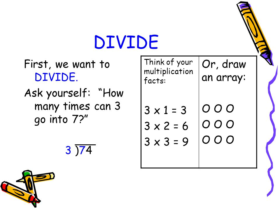 DIVIDE Or, draw an array: O O O 3 x 1 = 3 First, we want to DIVIDE.