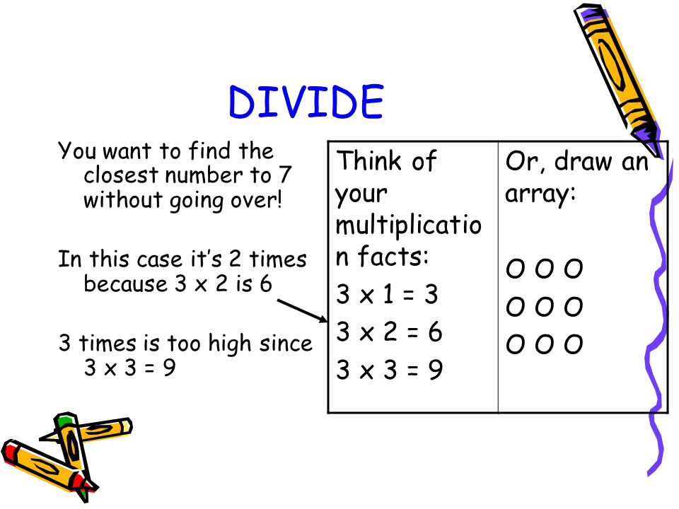 DIVIDE Think of your multiplication facts: 3 x 1 = 3 3 x 2 = 6