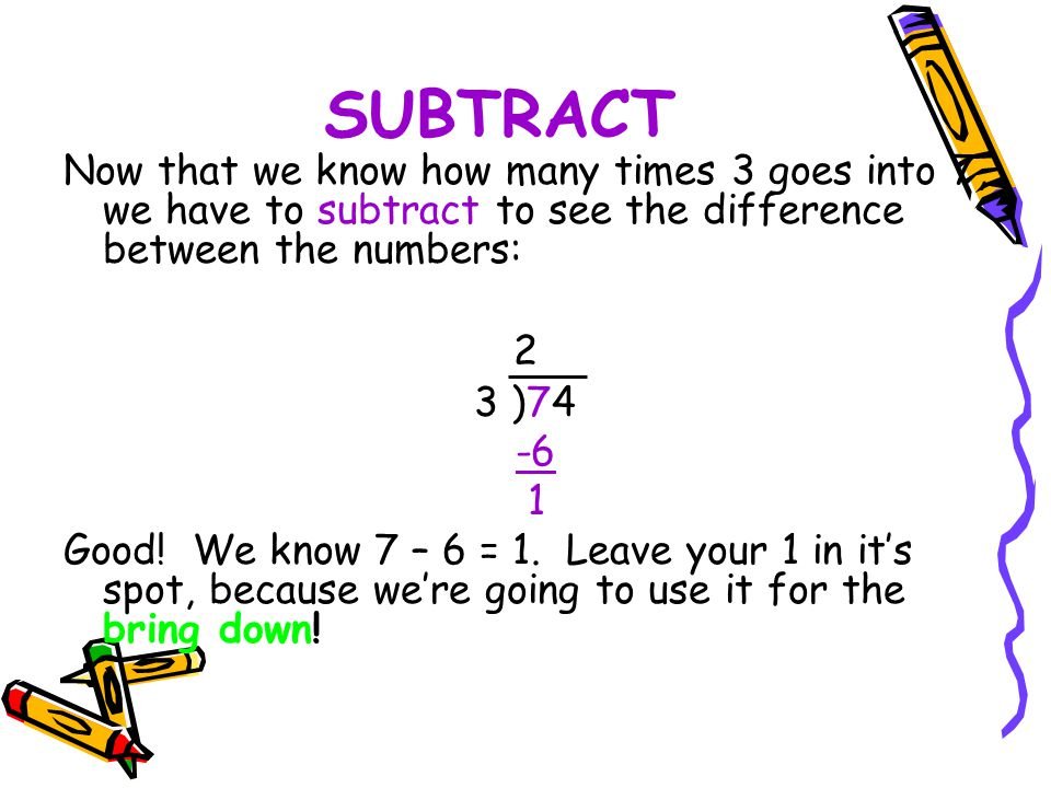 SUBTRACT Now that we know how many times 3 goes into 7, we have to subtract to see the difference between the numbers: