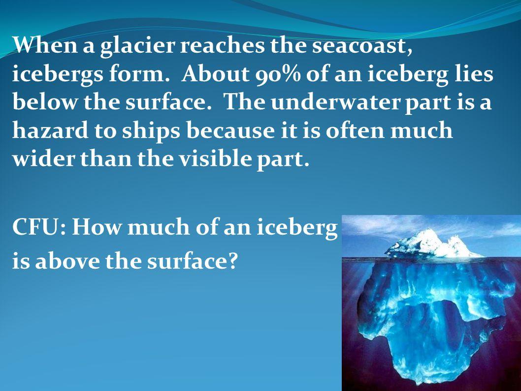When a glacier reaches the seacoast, icebergs form