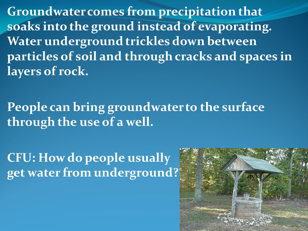 Groundwater comes from precipitation that soaks into the ground instead of evaporating. Water underground trickles down between particles of soil and through cracks and spaces in layers of rock.