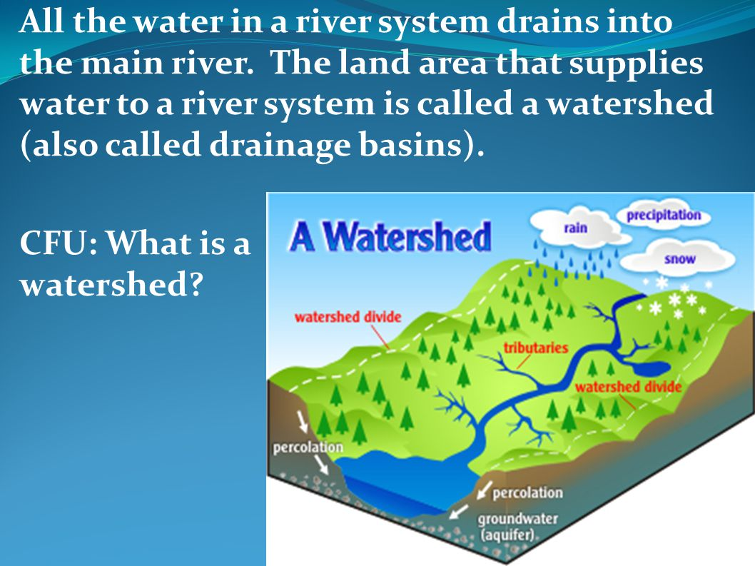 All the water in a river system drains into the main river