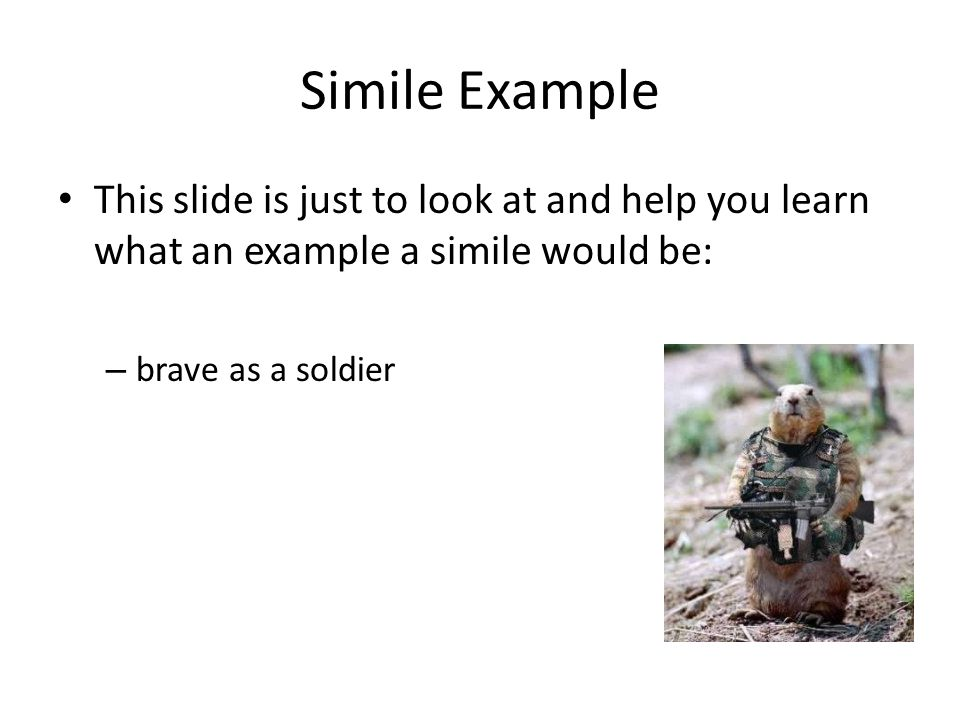 Simile Example This slide is just to look at and help you learn what an example a simile would be: brave as a soldier.