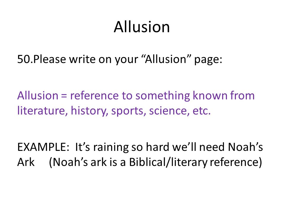 Allusion Please write on your Allusion page: