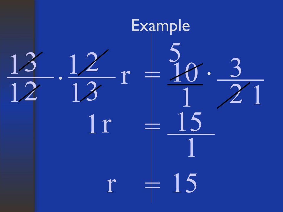 Example 5 3 2 1 1 3 10 r = · · 1 2 1 3 2 1 1 15 1 r = 1 r 15 =