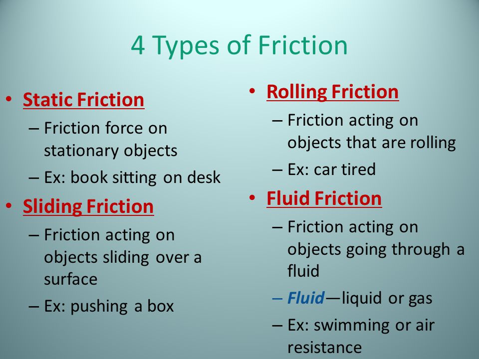 4 Types of Friction Rolling Friction Static Friction Fluid Friction