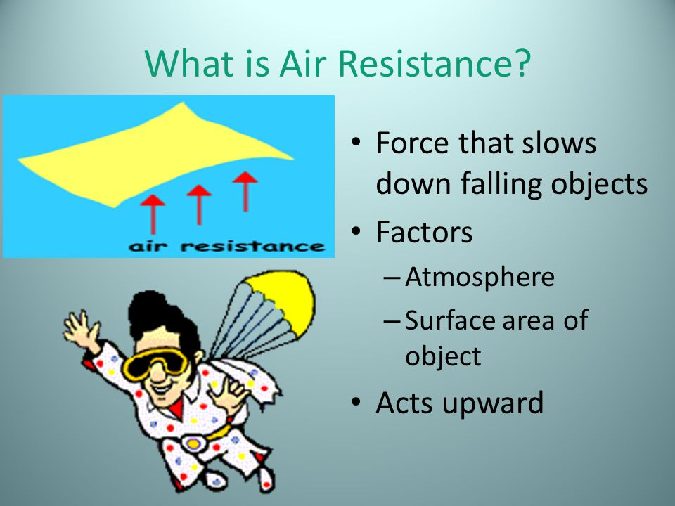 What is Air Resistance Force that slows down falling objects Factors