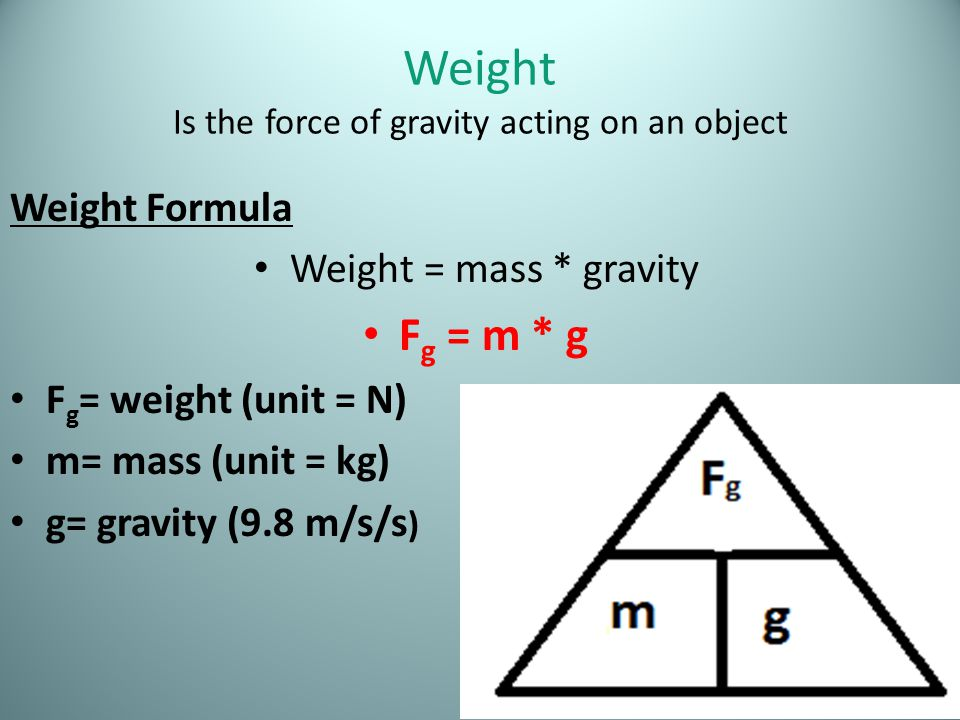 Weight Is the force of gravity acting on an object