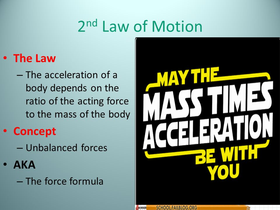 2nd Law of Motion The Law Concept AKA