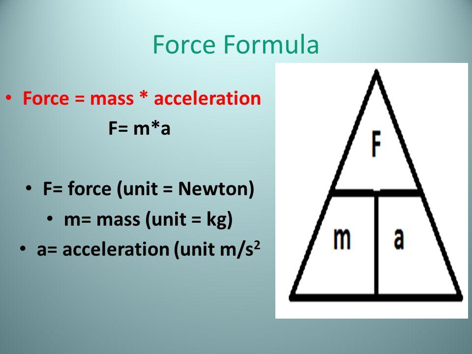 F= force (unit = Newton) a= acceleration (unit m/s2