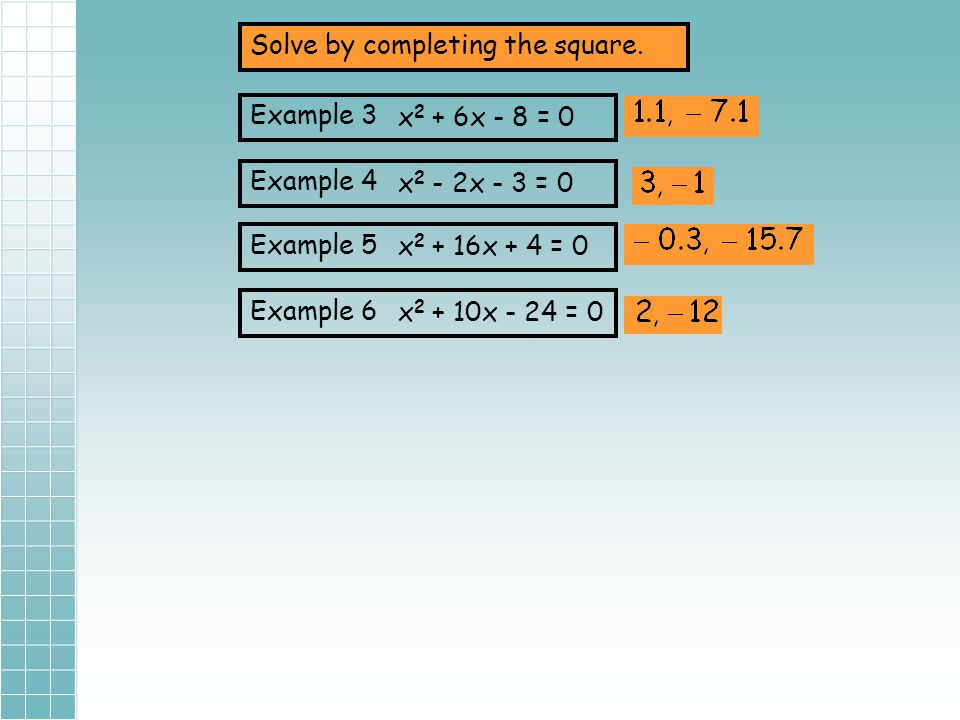 Solve by completing the square.