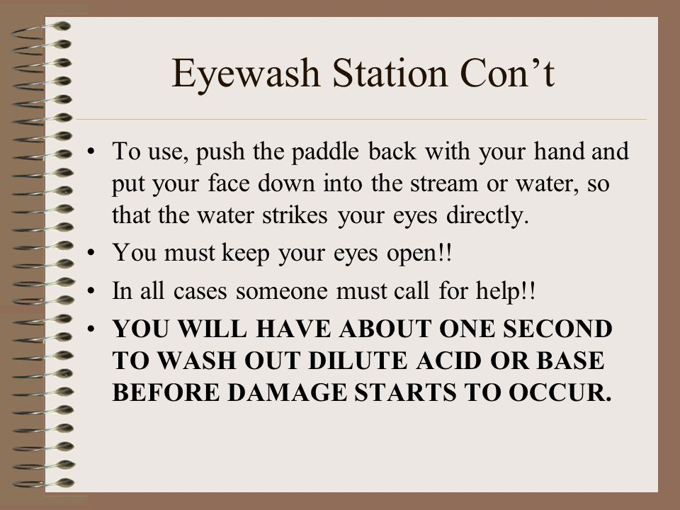 Eyewash Station Con't