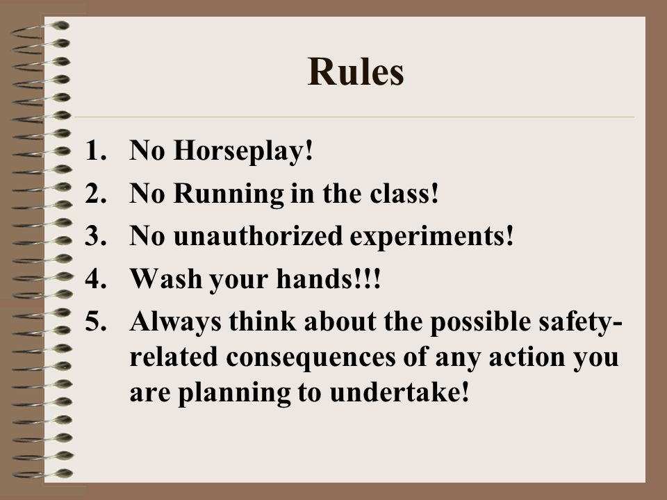 Rules No Horseplay! No Running in the class!