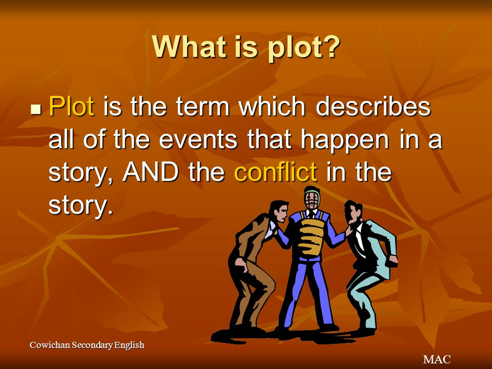 What is plot Plot is the term which describes all of the events that happen in a story, AND the conflict in the story.
