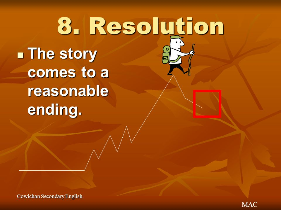 8. Resolution The story comes to a reasonable ending.