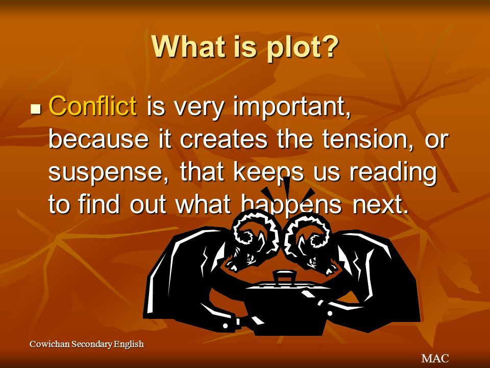 What is plot Conflict is very important, because it creates the tension, or suspense, that keeps us reading to find out what happens next.