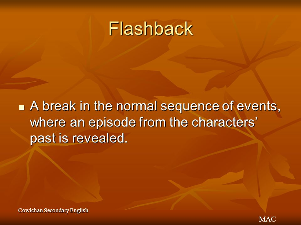 Flashback A break in the normal sequence of events, where an episode from the characters' past is revealed.
