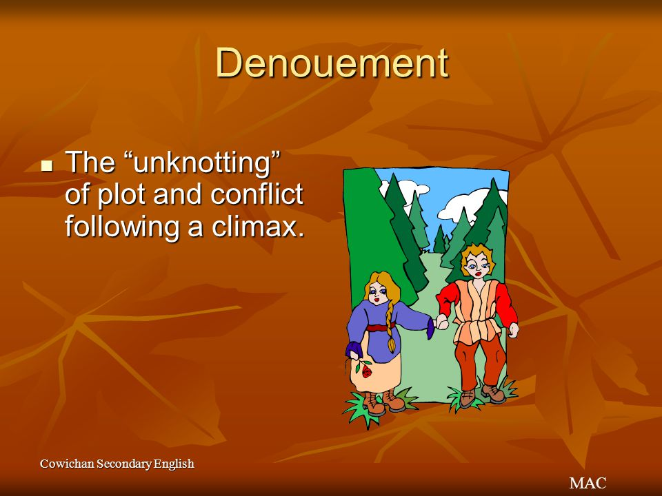 Denouement The unknotting of plot and conflict following a climax.