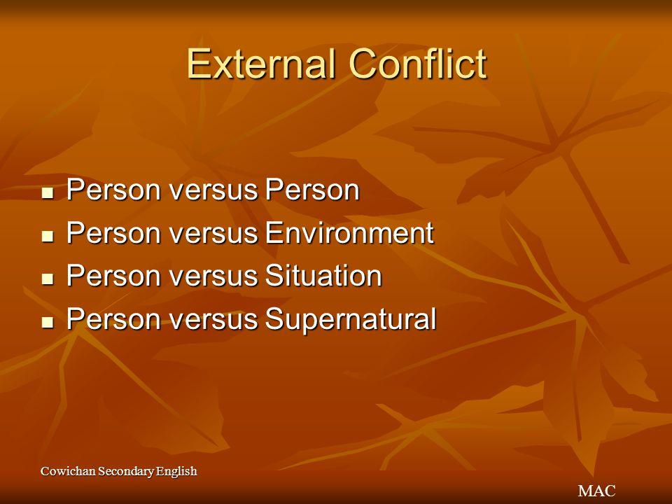External Conflict Person versus Person Person versus Environment