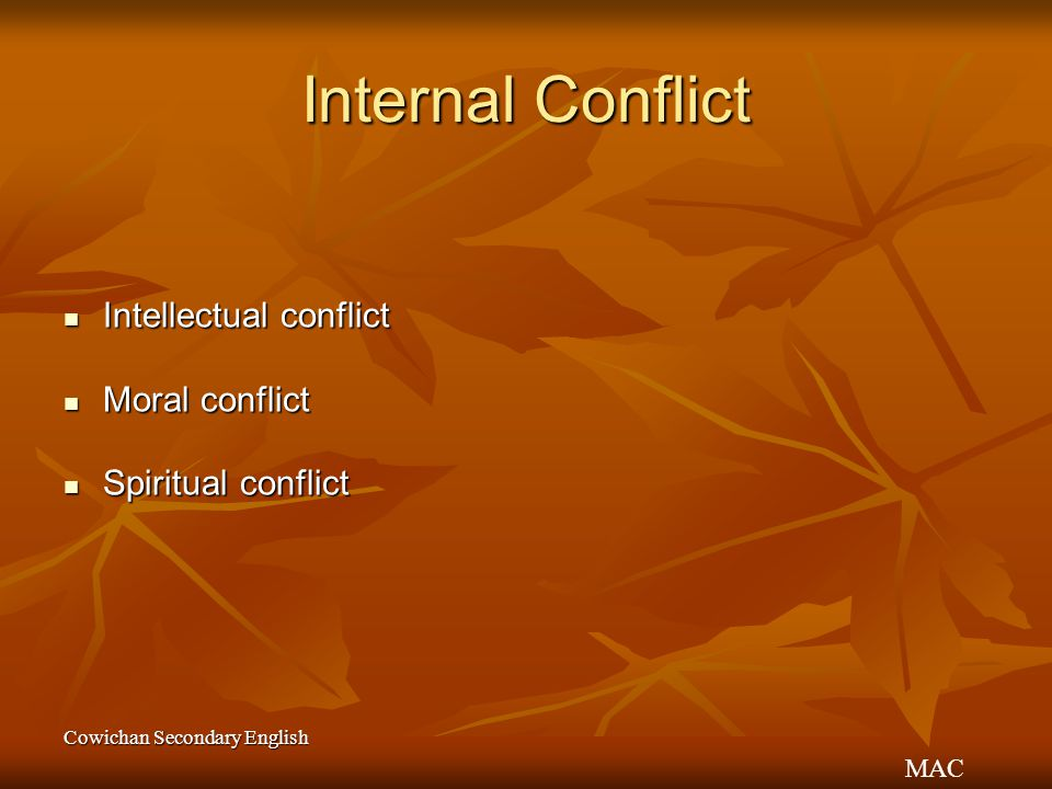 Internal Conflict Intellectual conflict Moral conflict