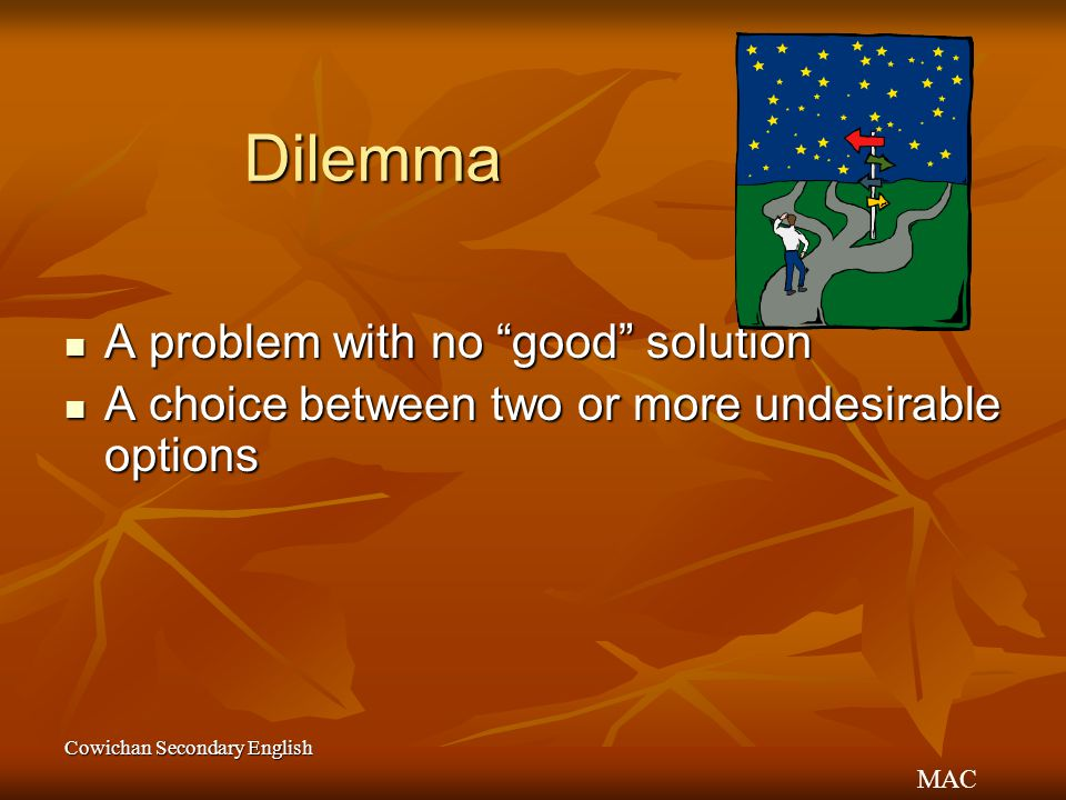 Dilemma A problem with no good solution