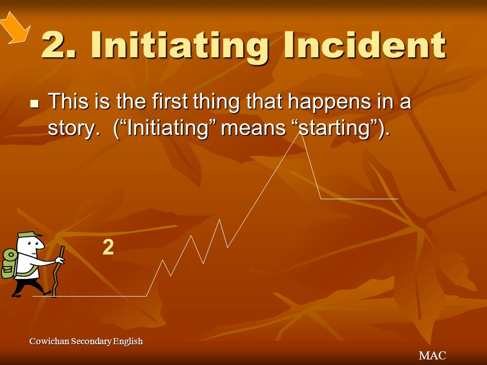 2. Initiating Incident This is the first thing that happens in a story. ( Initiating means starting ).