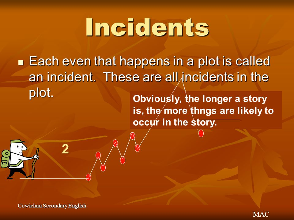 Incidents Each even that happens in a plot is called an incident. These are all incidents in the plot.