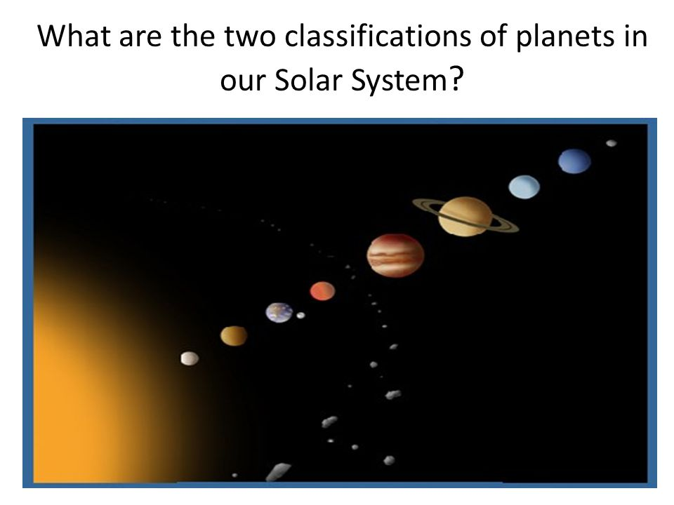 What are the two classifications of planets in our Solar System