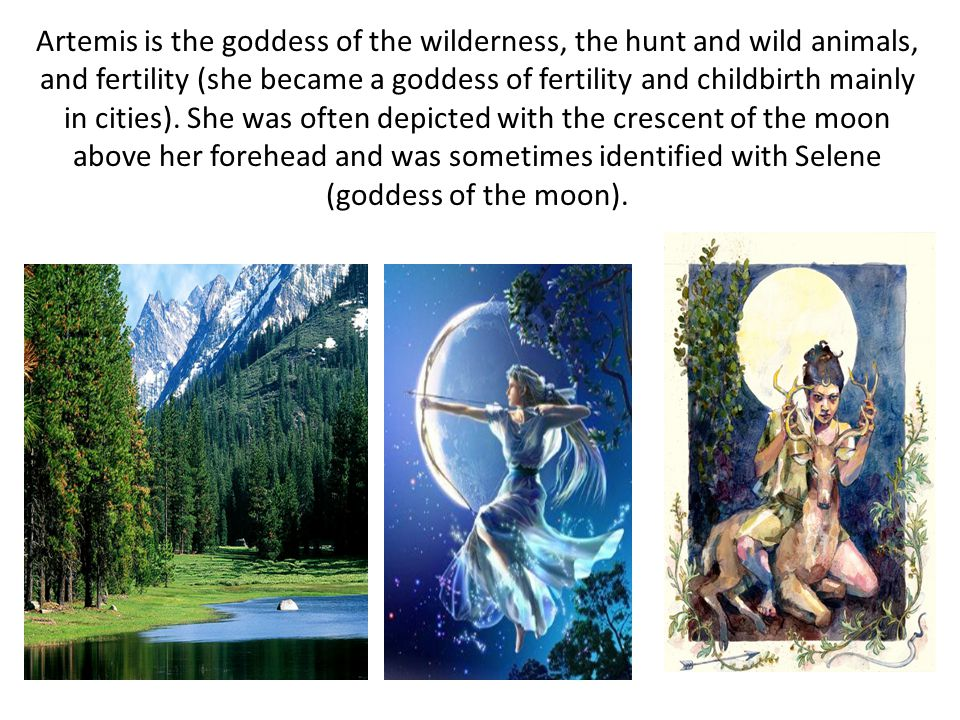 Artemis is the goddess of the wilderness, the hunt and wild animals, and fertility (she became a goddess of fertility and childbirth mainly in cities).