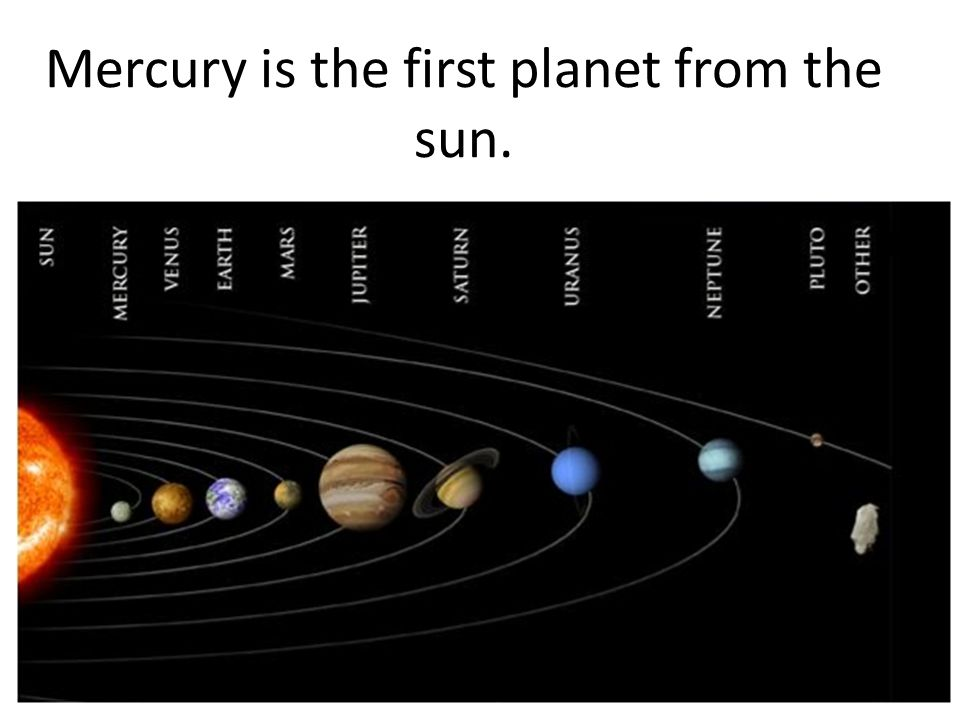 Mercury is the first planet from the sun.