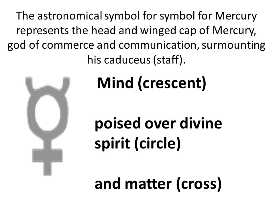 poised over divine spirit (circle) and matter (cross)