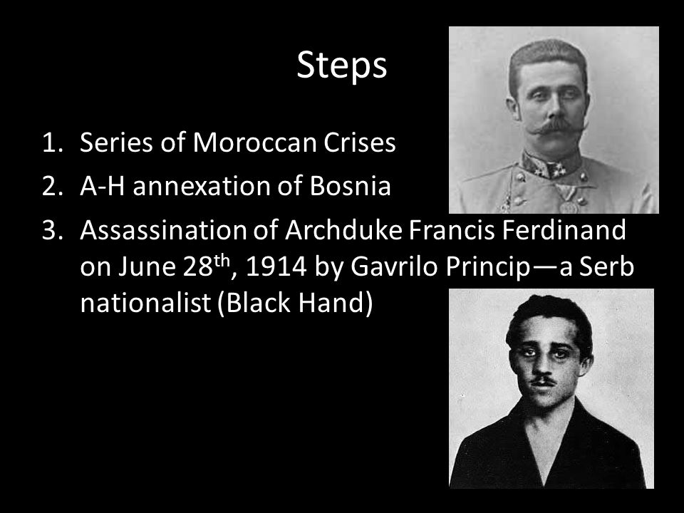 Steps Series of Moroccan Crises A-H annexation of Bosnia
