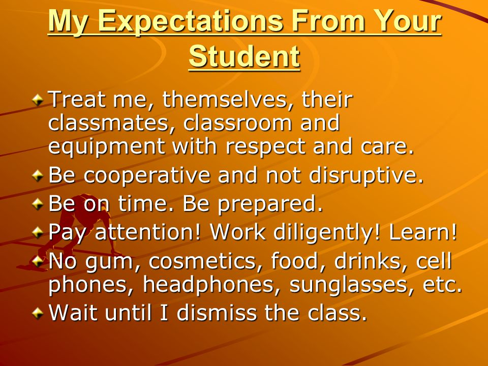 My Expectations From Your Student
