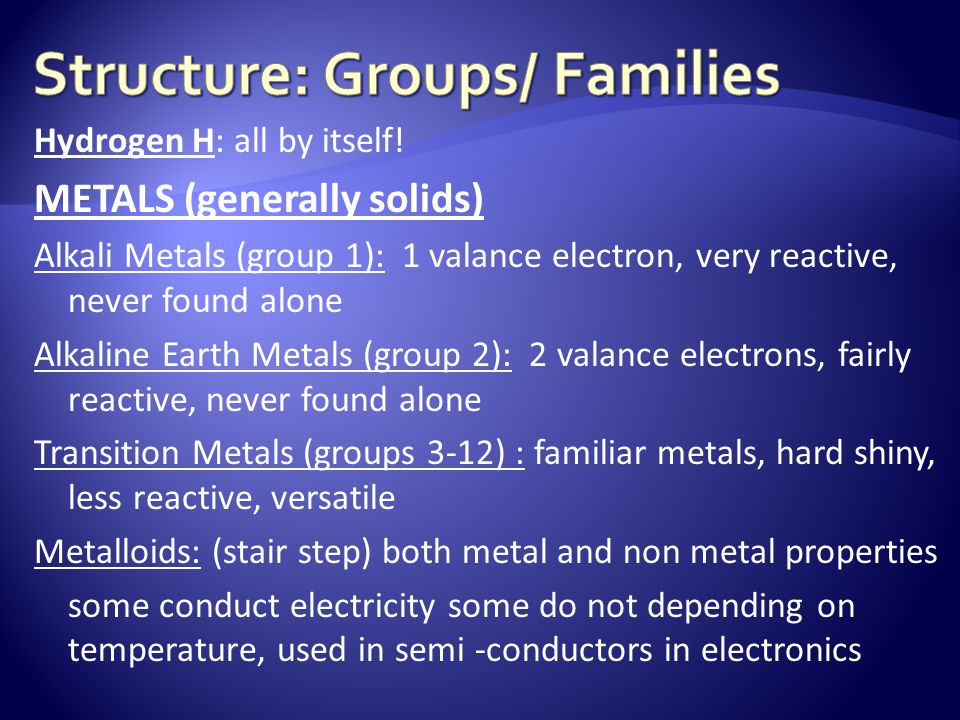 Structure: Groups/ Families