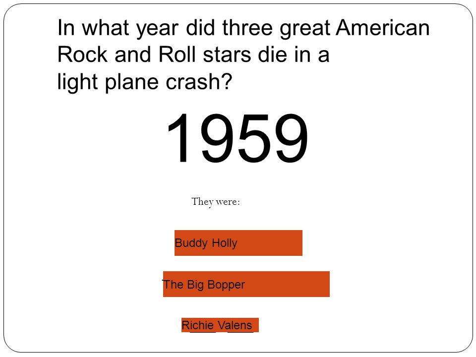 In what year did three great American Rock and Roll stars die in a