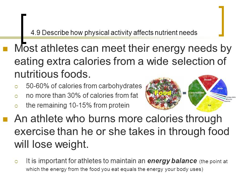 4.9 Describe how physical activity affects nutrient needs
