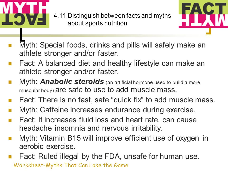 4.11 Distinguish between facts and myths about sports nutrition