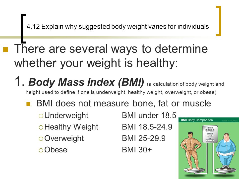 4.12 Explain why suggested body weight varies for individuals