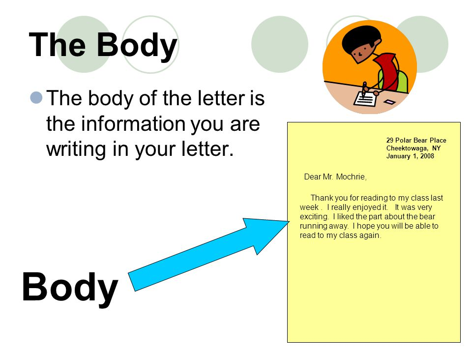 The Body The body of the letter is the information you are writing in your letter. 29 Polar Bear Place.