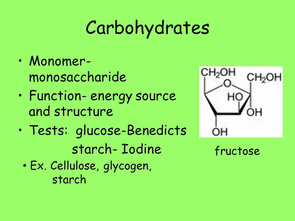 Carbohydrates Monomer- monosaccharide