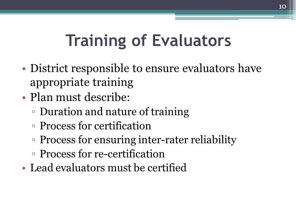 Training of Evaluators