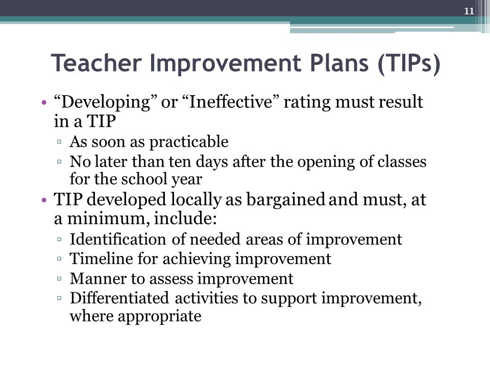 Teacher Improvement Plans (TIPs)