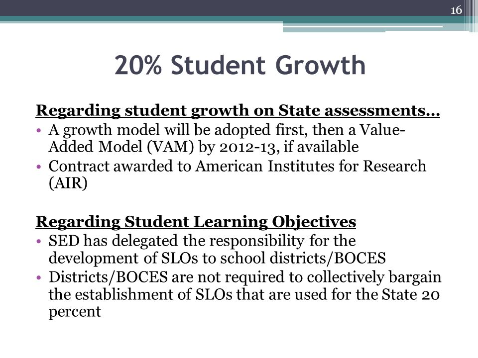 20% Student Growth Regarding student growth on State assessments…